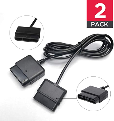 2PACK PS2 Controller Extension Cable Cord 6ft/1.8m Controller Extension for Sony Playstation 2 PS2 Game Console