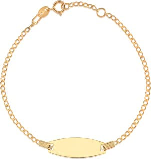 Brilliant Bijou 14k Yellow Gold Oval ID Figaro Bracelet 7 inches