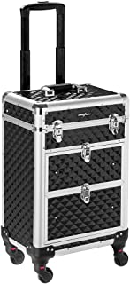 Mefeir Rolling Makeup Train Case Aluminum Cosmetic Luggage Lockable Travel Case Trolley with 4 360-Degree Casters & 2 Sliding Deep Drawers for Professional Artist Hair Stylist, Black