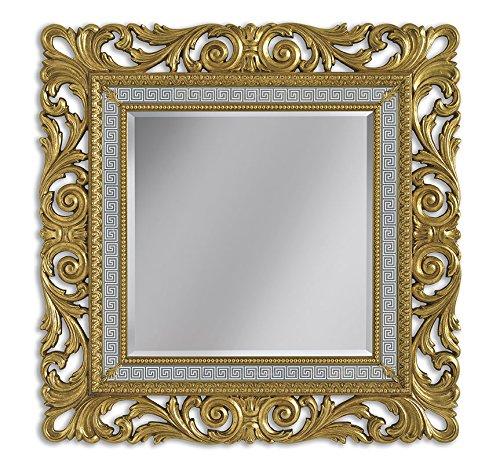 Arteferretto Miroir Cadre sculpté en Bois, Finition Feuille d'or, Miroir Classique Design Italien