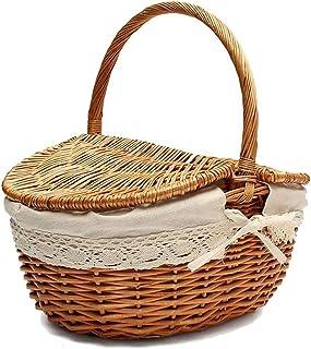 Picnic basket Handmade Wicker Basket with Handle, Wicker Camping Picnic Basket with Double Lids, Shopping Storage Hamper B...