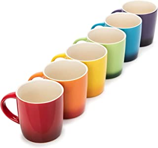 Dawsons Living Multi-Coloured Stoneware Mugs Set - Wide Tea Coffee and Hot Chocolate Cups - Set of 6-11 oz / 312ml