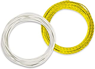 Bryne Braided Fiberglass Silicone high temp wire(300V,-60~200Degree C),Stranded Tinned Copper wire UL3122,50Ft White&50Ft Yellow-Green Pack (AWG22)