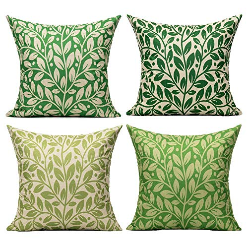VAKADO 40cmx40cm Outdoor Green Leaves Cushion Covers Spring Plants Summer Furniture Cushion Cases Home Decor 16x16 Inch Set of 4 for Patio Couch Bed Livingroom