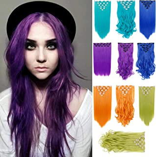 BECUS Thick Long Straight in on 8 Pieces Full Head Set Hair Extensions Double Weft 20 inches 8pcs Hairpiece Extension Highlights Many Colors for Women Full Head(#T2411 Purple)