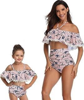 母と娘の水着家族の合わせ衣装、ママと私の服水着ママとガールビキニ女性、安全性と快適さの素材 スプリットハイウエスト水着