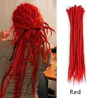 AOSOME 20inch Pack of 20 Red Dreadlocks Hair Extension Crochet Synthetic Hair Reggae Hair Locs