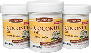De La Cruz Coconut Oil, Expeller-Pressed, No Parabens or Artificial Colors, Packed in USA 2.2 OZ. (3 Jars)