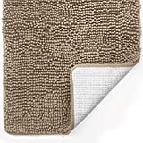 Gorilla Grip Original Luxury Chenille Bathroom Rug Mat, 24x17, Extra Soft and Absorbent Shaggy Rugs, Machine Wash Dry, Perfect Plush Carpet Mats for Tub, Shower, and Bath Room, Beige