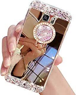 Galaxy Note 8 Case,Inspirationc Crystal Rhinestone Mirror Glass Case Bling Diamond Soft Rubber Makeup Case for Samsung Galaxy Note 8 with Detachable 360 Degree Ring Stand--Gold