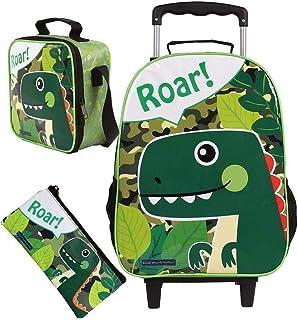 240289254 Kit Mochila Escolar Infantil Carrinho Rodinha Dinossauro Roar Menino +  Lancheira e Estojo DMW
