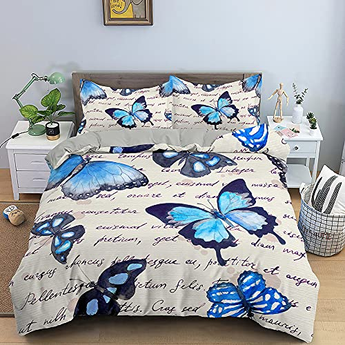 Nordic Modern Home Textiles Bedding Set Small Fresh Blue Butterfly Pattern Duvet Cover Queen King Size Soft Comforter Set Double Single The Comfy for Girl Boy Teens Adult,Full