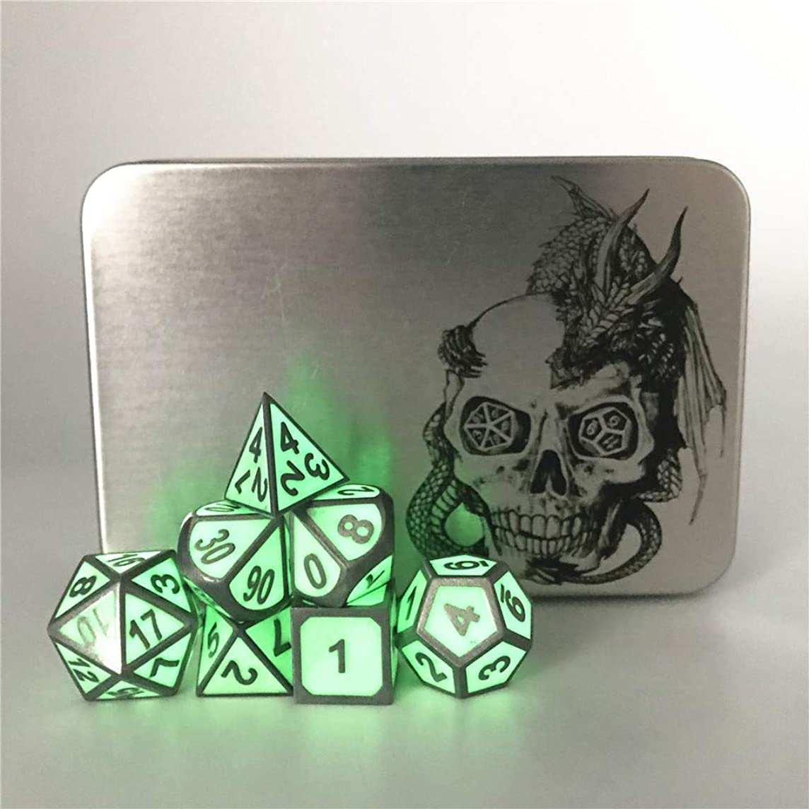 Truewon Metal Dice Set of 7 with Metal Case (Ridge Night Fluorescent Green Color)