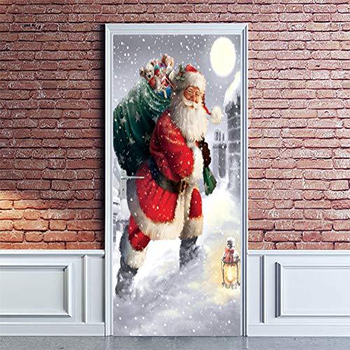 AmyGline Christmas Door Wallpaper 3D Weihnachtsmann Poster Aufkleber Selbstklebende Tür Wandbild wasserdicht