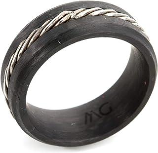 أم جي خاتم رجالي كربون و ستانلس ستيل , مقاس 7,CF121