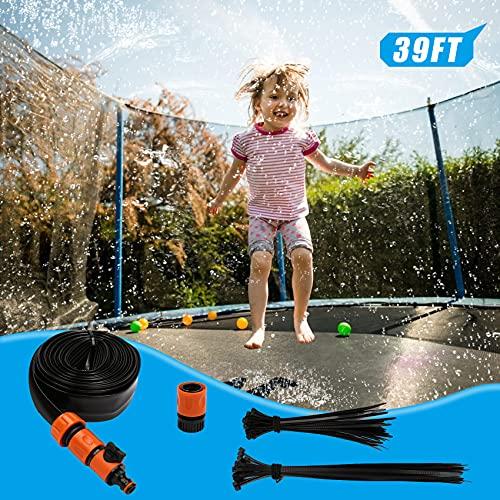 SSAWcasa Aspersor Trampolín Set 12M Rociador de Trampolín para Parque acuático, Divertidos rociadores de Juegos acuáticos de Verano para niños y niñas Accesorios para Cama Elástica al Aire Libre