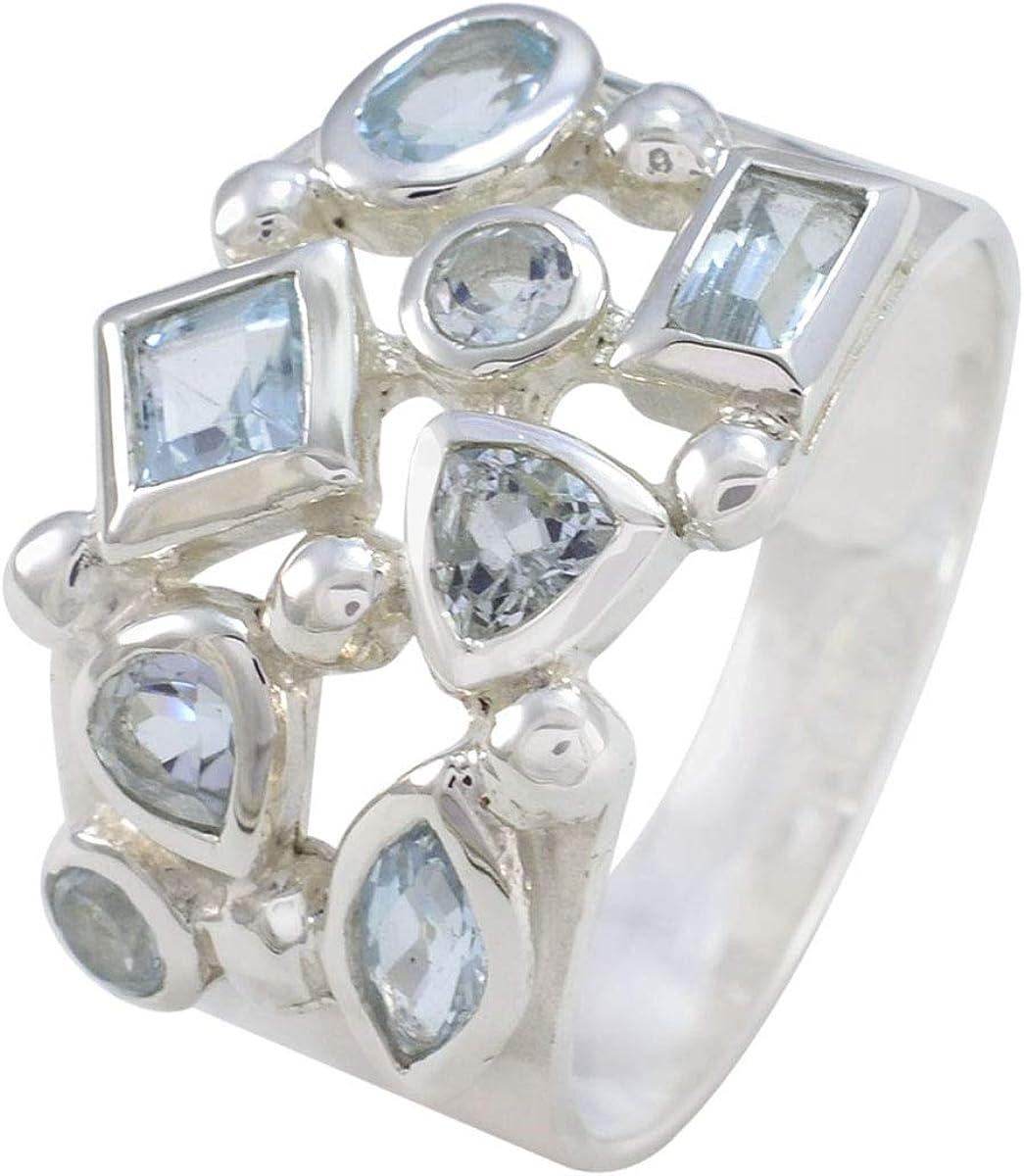Cheap Joyas Sale Plata Real Gemstones Multi Blue Stone Faceted Shape