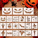 21Pcs Large Halloween Painting Stencils,DIY Reusable Pumpkin Airbrush Expression Templates for...