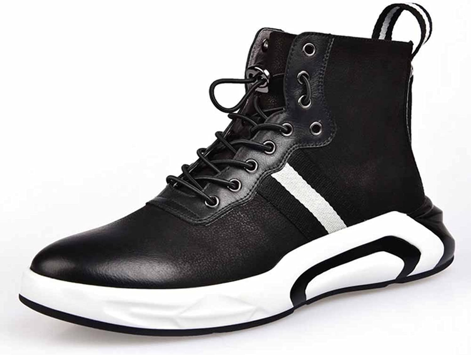 GLSHI Men Leather Sneakers New Hi-Top Walking shoes Lightweight Outdoor Travel shoes