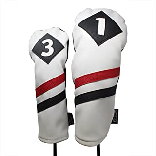 Majek Retro Golf Headcovers White Red and Black Vintage Leather Style 1 & 3 Driver and Fairway Head Cover Fits 460cc Drivers Classic Look