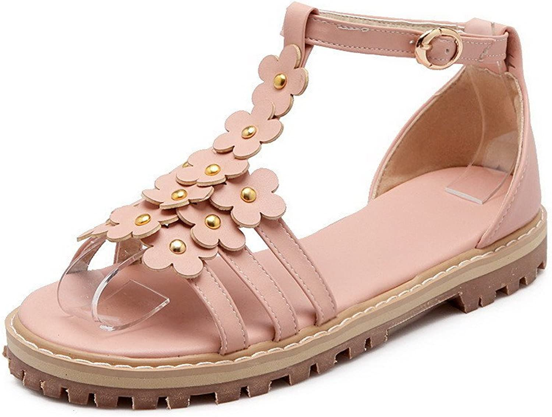 AmoonyFashion Women's Solid PU Low-Heels Open Toe Buckle Sandals