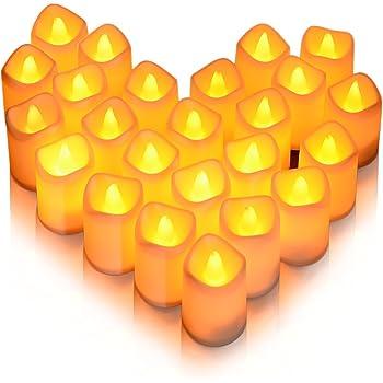 Litake Bougies LED,24 PCS Lumière Vacillante Chauffe Plat sans Flamme avec Piles Décoration de Mariage,Anniversaire,Festival,Halloween,Maison,Dîner,