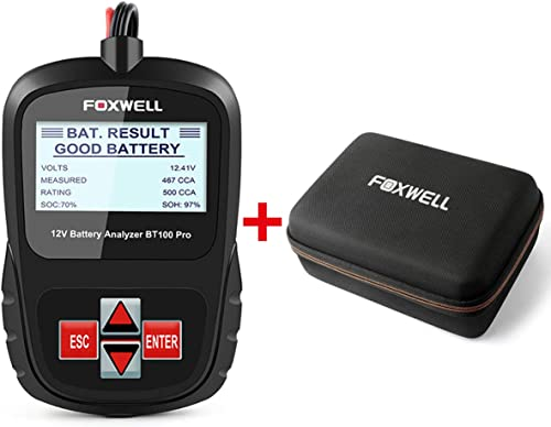 new arrival FOXWELL Car Battery Tester BT100 wholesale Pro 12V Automotive 100-1100CCA new arrival Analyzer with EVA Case online sale