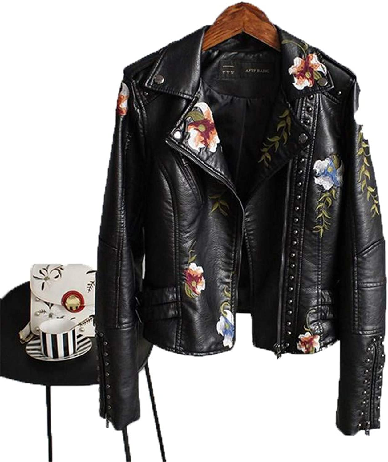 KEYUEyurei Women Floral Print Embroidery Faux Soft Leather Jacket Coat TurnDown Collar Casual Pu Motorcycle Punk Outerwear