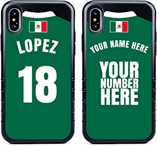 Custom Mexico Flag Soccer Jersey Cases for iPhone Xs Max by Guard Dog – Personalized – Put Your Name and Number on a Phone Case. Includes Screen Protector (Black,Black)