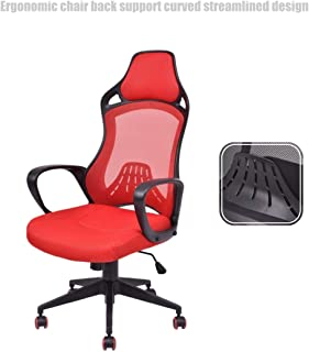 Executive High Back Race Car Style Chair Mesh Seats Soft Sponge Upholstery 360 Degree Swivel Home Office Gaming Desk Task - Red # 1503