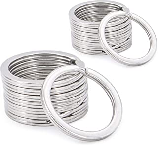 Stainless Steel Wire Keychain,Round Flat Key Chain Rings for Outdoor Hiking and Home Car Keys Organization 20pcs.