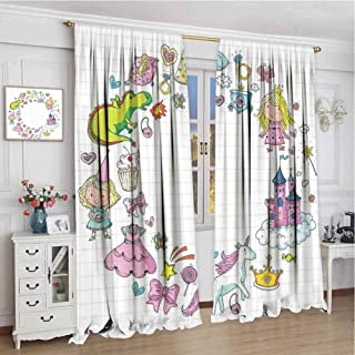 GUUVOR Unicorn Party Room Darkened Heat Insulation Curtain Fantastic Fairy Tale Elements Fire Breathing Dragon Princes Castle on Cloud Living Room W96 x L72 Inch Multicolor