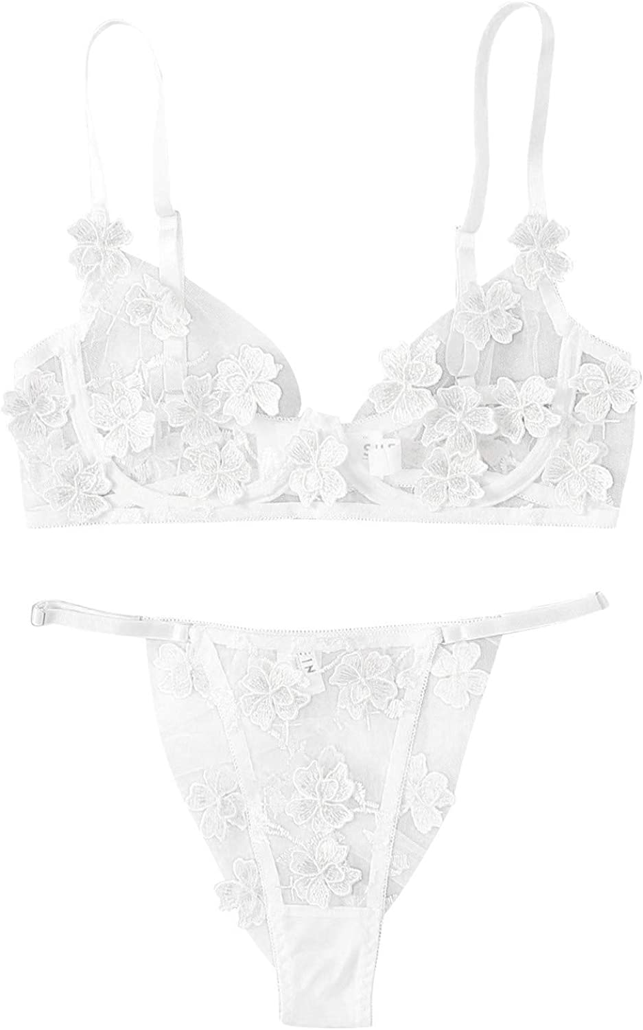 Forwelly Womens See Through Lingerie Set Ladies Two Piece Underwear Set Bra and G-String, Cute Flowers Embroidery