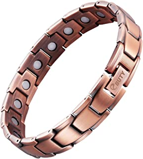 Mens Pure Copper Magnetic Therapy Bracelet Pain Relief for Arthritis with Jewelry Box