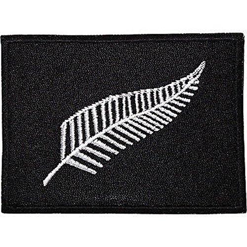 Silberfarbener neuseeländischer Farn-Flaggen-Patch, gestickt, zum Aufbügeln oder Aufnähen auf T-Shirts