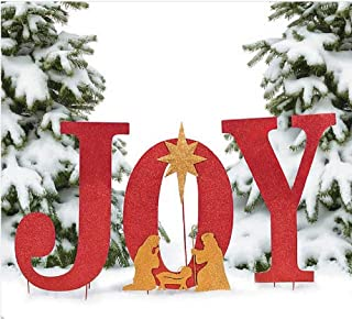 OT Outdoor Christmas Decoration Nativity Display Joy Yard Sign Xmas Front Door Decor