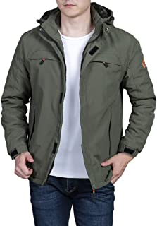 SPE969 Zip Hoodie Solid Jacket for Men, Hooded Outdoor Plus Velvet Mountaineering Sportswear