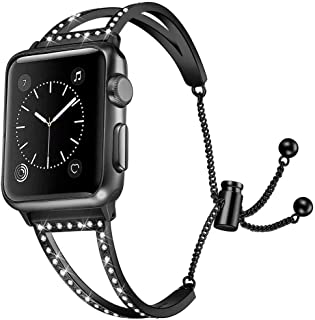 JuQBanke Stainless Steel Metal Band Compatible for Apple Watch Band 38mm 40mm 42mm 44mm Compatible with iWatch Series 4/3/2/1, Bracelet Bangle Cuff Adjustable Replacement Wristband Strap Women Girl
