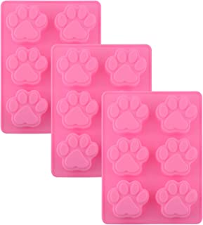 POPBLOSSOM Set of 3 Pack X Silicone Dog Pet Animal Paw Print Ice Cube Chocolate Soap Candle Tray Mold Party Maker