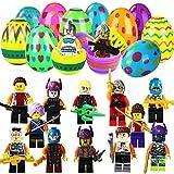 Comken Easter Egg Fillers Toys, 20 PCS Plastic Easter Eggs with Mini Figure Bricks Toys Inside, Easter Egg Surprise Filled Toys Kids Gifts Party Favors Eggs Hunt Basket Stuffers Fillers