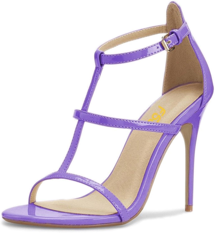 FSJ Fashion Sandals for Women Ankle Straps Open Toe Stiletto Heels Hollow Out shoes Size 4-15 US