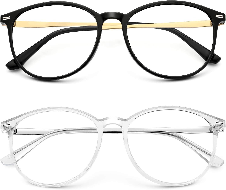 Blue Light Blocking Glasses Women Men Round Computer Lightweight Eyeglasses Frame Metal Legs Reading Gaming Glasses