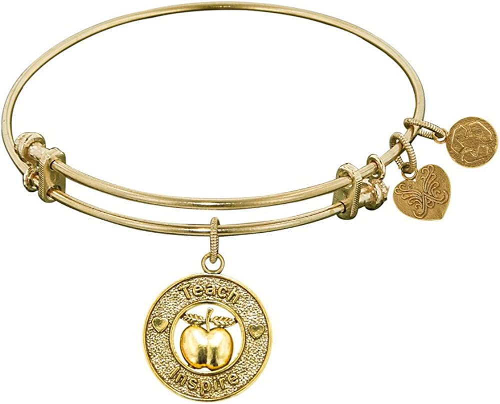 Angelica Collection Non-Antique Stipple Finish Brass Apple; Teach, Inspire Expandable Bangle