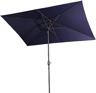 Aok Garden Outdoor Market Umbrella,10x6.5 Feet Square Patio Umbrella with Push Button Tilt and Crank Lift Ventilation,8 Sturdy Ribs Non-Fading Sunshade,Navy Blue