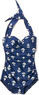 Esther Williams 1950s One Piece Halter Swimsuit Nautical Navy Anchors