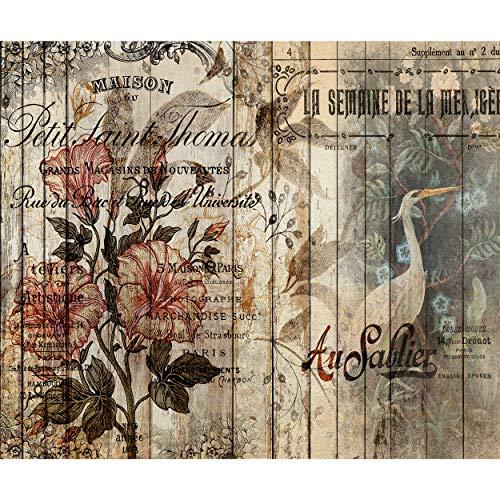 decomonkey Fototapete Blumen Holz 400x280 cm XL Tapete Fototapeten Vlies Tapeten Vliestapete Wandtapete moderne Wandbild Wand Schlafzimmer Wohnzimmer Tiere Sprüche