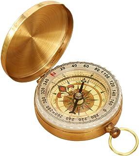 carwin 方位磁针 羅針盤 方位磁石 方向指示 コンパス 黄銅合金 キャンプ 登山 ハイキング【夜光】