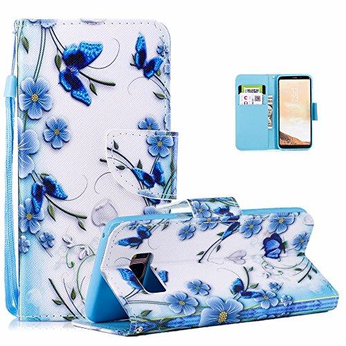 Vectady für Samsung Galaxy S8 Hülle, Schutzhülle Handyhülle für Samsung Galaxy S8 Hüllen Flip Case Leder Handytasche Magnet Geldbörse Ledertasche für Samsung Galaxy S8,Schmetterling Blume
