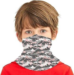 Boys Girls Neck Gaiters Face Mask, Pink And Grey Camouflage Cooling Kids Bandana Scarf Anti Dust UV Protection Balaclavas
