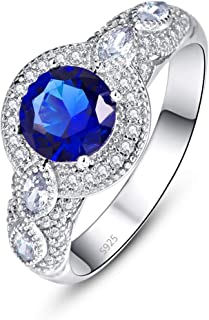 Empsoul 925 Sterling Silver Blue Ring Round Cut Simulated Sapphire Quartz Cubic Zirconia Wedding Ring for Women Mother's D...
